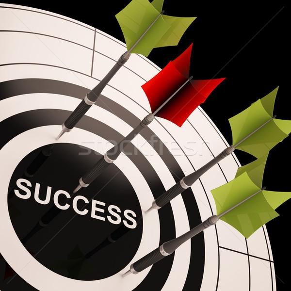 Success On Dartboard Shows Successful Goals Stock photo © stuartmiles