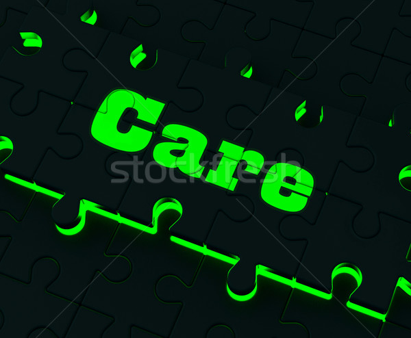 Care Puzzle Means Healthcare Concerned Careful Or Caring Stock photo © stuartmiles