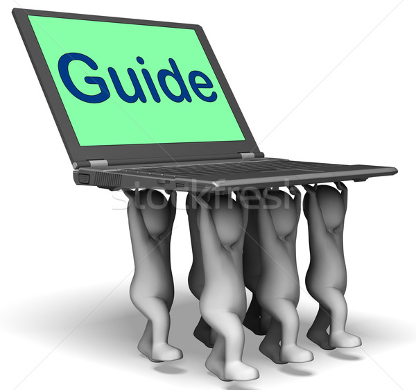 Guide Characters Laptop Shows Guidance Assistance Or Assist Stock photo © stuartmiles