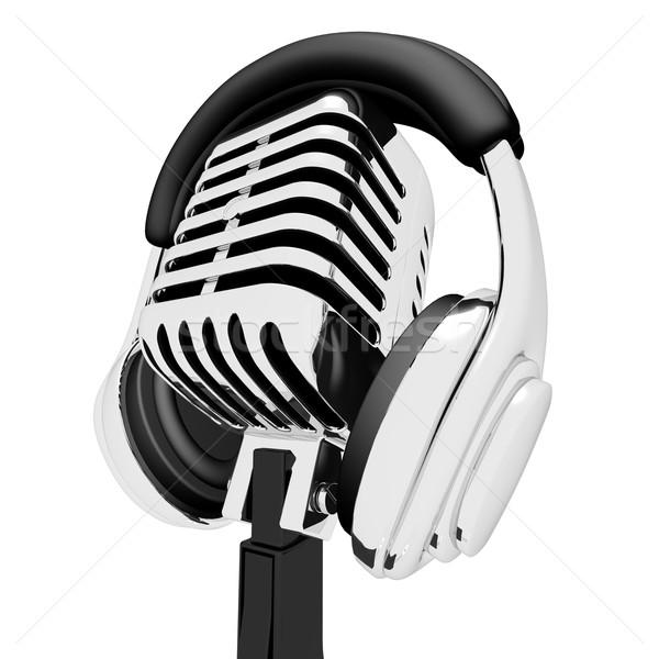 Mic And Headphones Shows Recording Studio Or Record Stock photo © stuartmiles