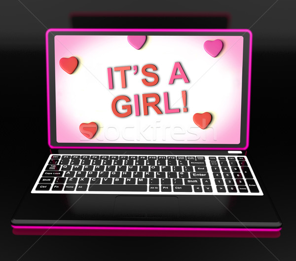 Stock photo: It's A Girl Message Online Shows Newborn Female Baby