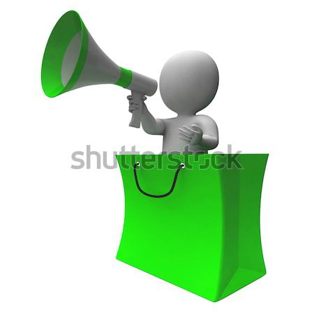 Loud Hailer Shopping Bag Character Shows Sale Or Discounts Stock photo © stuartmiles