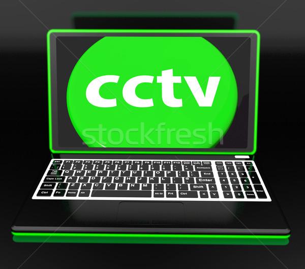 Cctv laptop ellenőrzés biztonság védelem online Stock fotó © stuartmiles