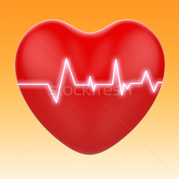 Electro On Heart Means Cardiology Or Heart Health Stock photo © stuartmiles
