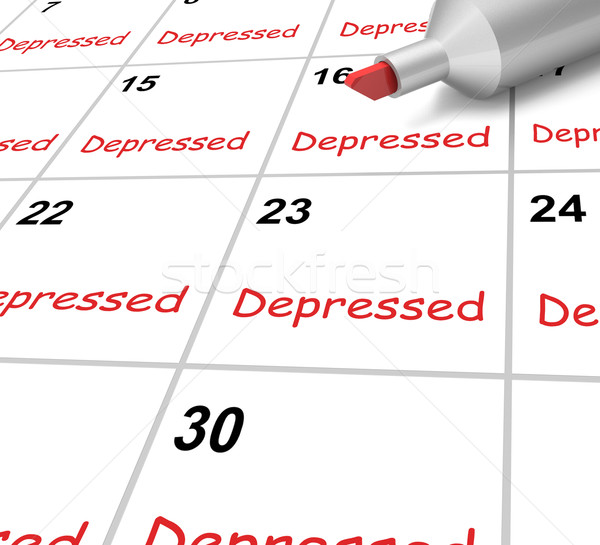Depressed Calendar Means Down Despondent Or Mental Illness Stock photo © stuartmiles