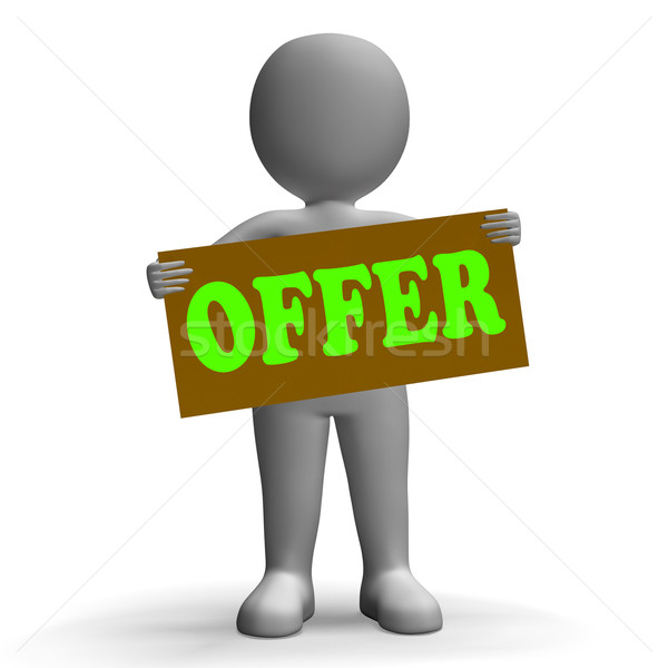 Stock photo: Offer Sign Character Means Special Offers And Sales