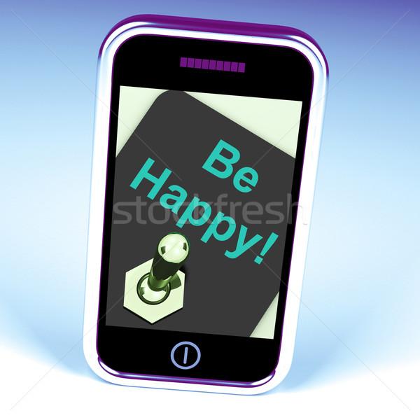 Szczęśliwy telefonu szczęścia przyjemność Internetu Zdjęcia stock © stuartmiles