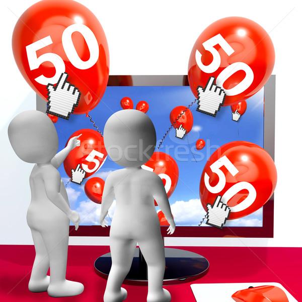Aantal 50 ballonnen monitor show internet Stockfoto © stuartmiles