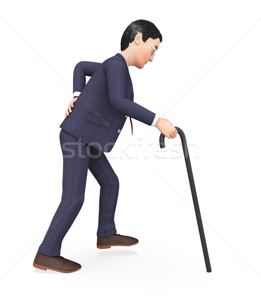 Man With Backache Represents Agony Pang And Men Stock photo © stuartmiles