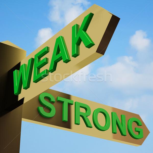 Stock fotó: Gyenge · erős · irányok · útjelző · tábla · sárgaréz · munka