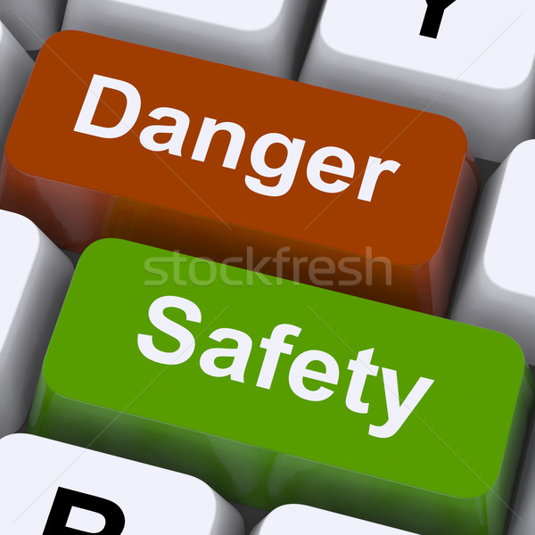 Danger And Safety Keys Shows Caution And Hazards Stock photo © stuartmiles