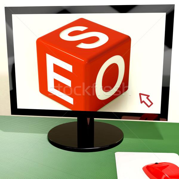 Seo Dice On Computer Shows Online Web Optimization Stock photo © stuartmiles