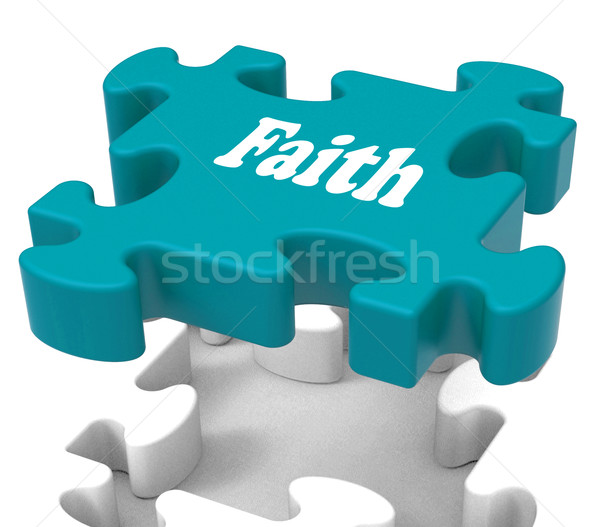 Faith Jigsaw Shows Believing Religious Belief Or Trust Stock photo © stuartmiles