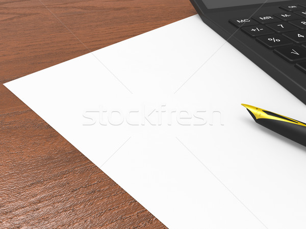 Paper And Calculator Shows Calculating Blank Copyspace Statistic Stock photo © stuartmiles