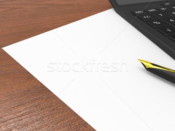 Papier calculator exemplaar ruimte statistisch tonen statistiek Stockfoto © stuartmiles