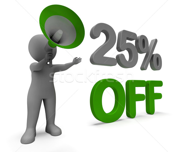 Twenty Five Percent Off Character Means Cut Rate Or Sale 25% Stock photo © stuartmiles