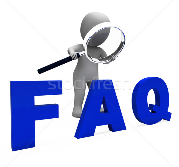 Faq 3d Character Shows Assistance Inquiries Or Frequently Asked  Stock photo © stuartmiles