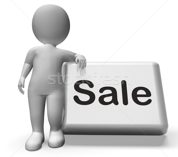 Stock photo: Sales Button With Character Shows Promotions And Deals