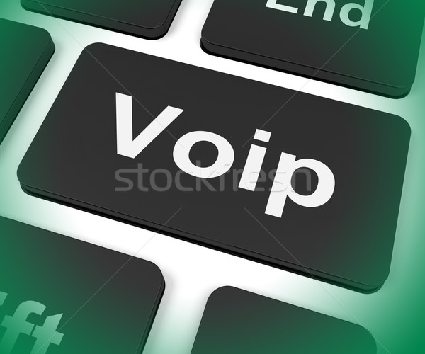 Voip Key Means Voice Over Internet Protocol Or Broadband Telepho Stock photo © stuartmiles