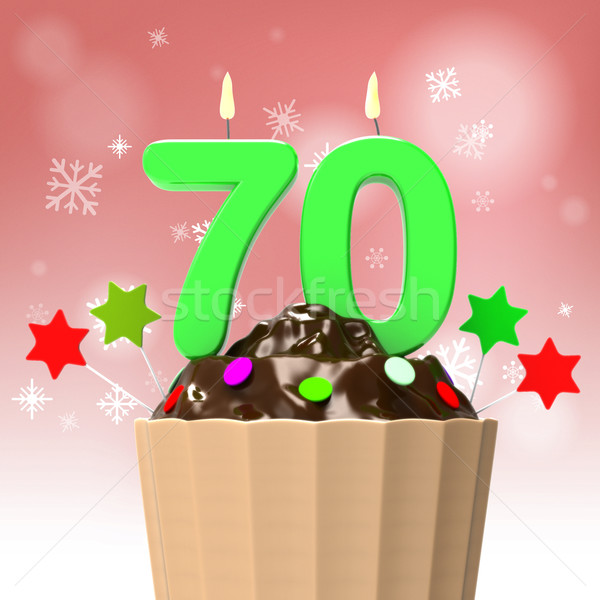 Seventy Candle On Cupcake Shows Elderly Celebration Or Reunion Stock photo © stuartmiles