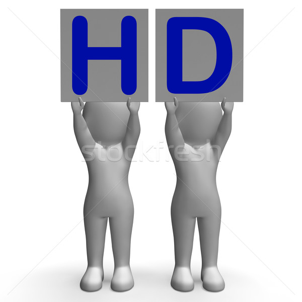 HD Banners Mean High Definition Television Or High Resolution Stock photo © stuartmiles