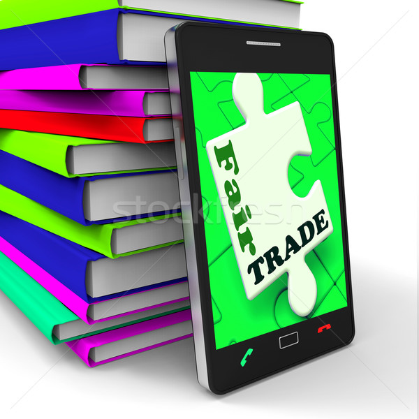 Fair Trade Smartphone Shows Purchasing Ethical Fairtrade Goods Stock photo © stuartmiles
