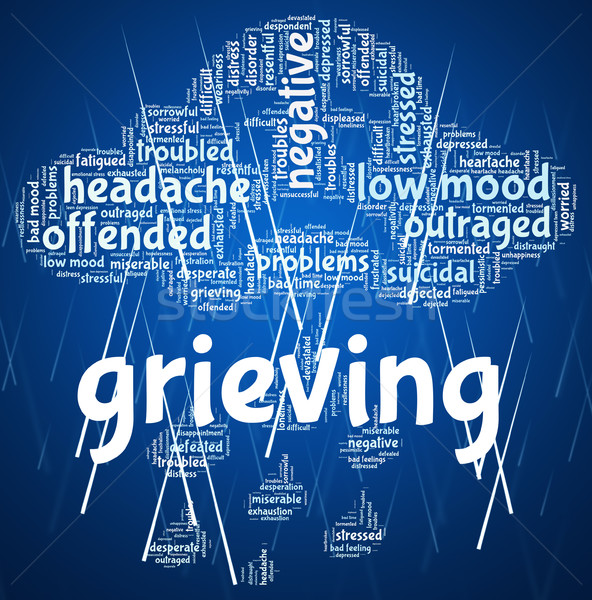 Grieving Word Means Broken Hearted And Anguish Stock photo © stuartmiles