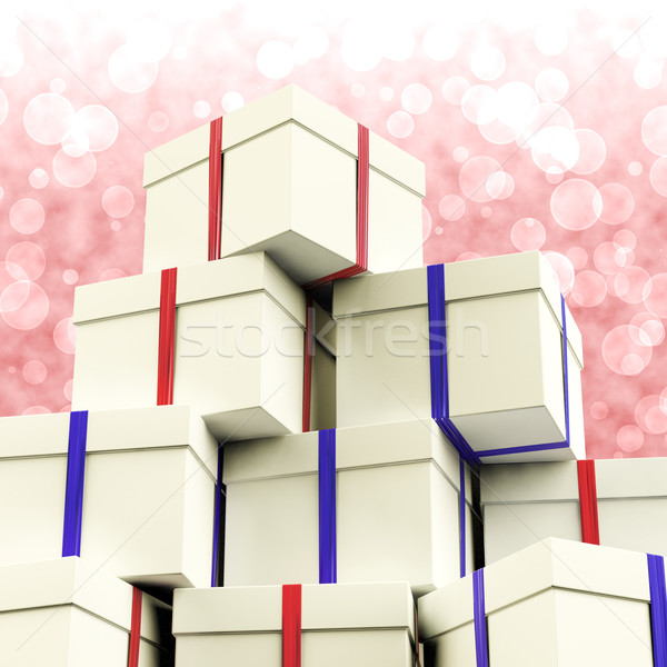 Stack Of Giftboxes With Bokeh Background As Presents For The Fam Stock photo © stuartmiles