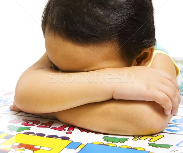 Moe humeurig meisje armen gevouwen Stockfoto © stuartmiles