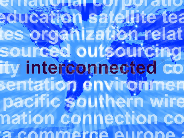 Interconnected Word On Map Showing Global Networks Stock photo © stuartmiles