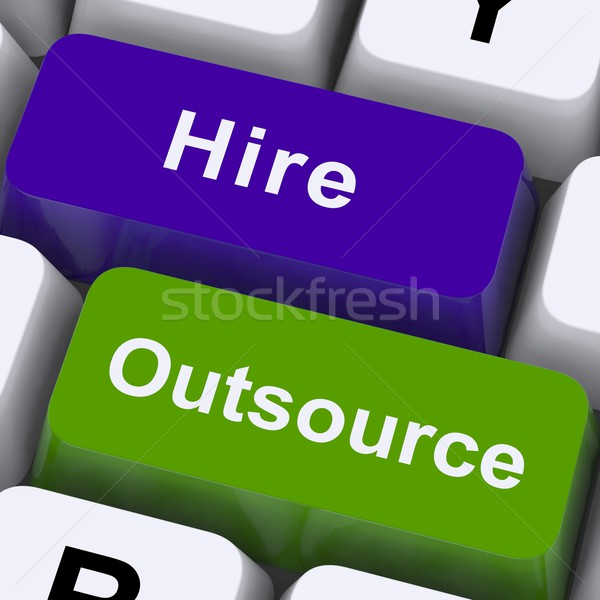 Outsource Hire Keys Showing Subcontracting And Freelance Stock photo © stuartmiles