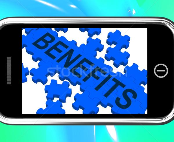 Benefits On Smartphone Shows Monetary Rewards And Bonuses Stock photo © stuartmiles