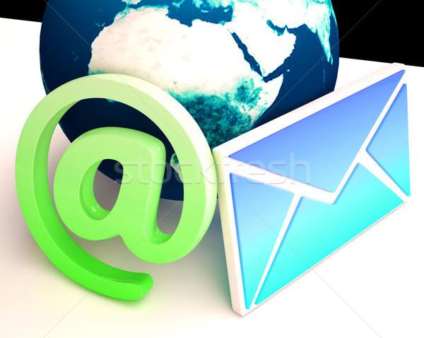 Wereld e-mail communicatie wereldwijd www tonen Stockfoto © stuartmiles