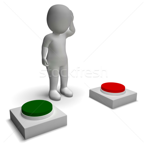 Choice Of Pushing Buttons 3d Character Showing Indecision Stock photo © stuartmiles