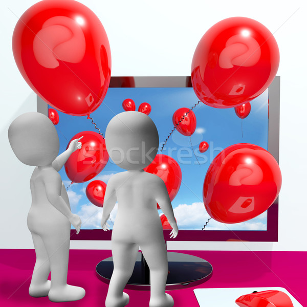 Balloons Coming From Screen Show Online Celebrations Stock photo © stuartmiles