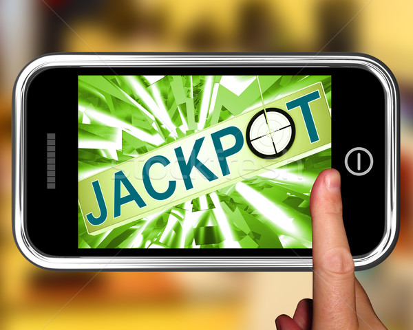 Jackpot On Smartphone Showing Target Gambling Stock photo © stuartmiles