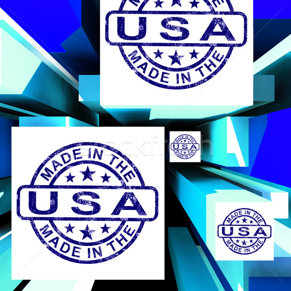 Made In The USA On Cubes Shows American Manufacture Stock photo © stuartmiles