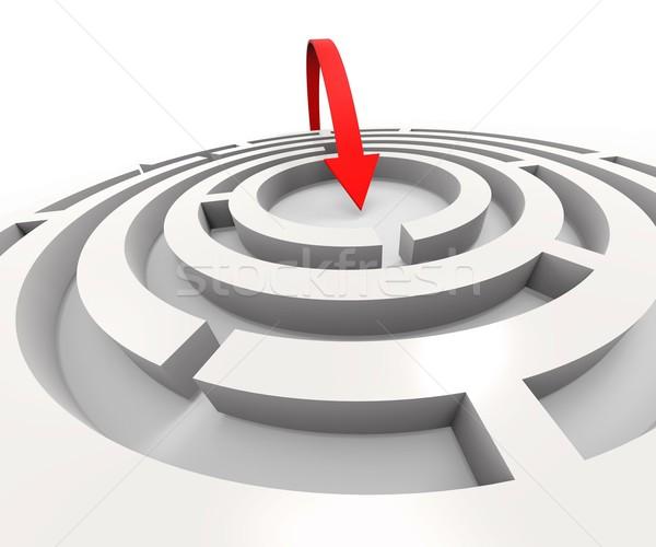 Overcome Maze Shows Solving Puzzle Success Stock photo © stuartmiles
