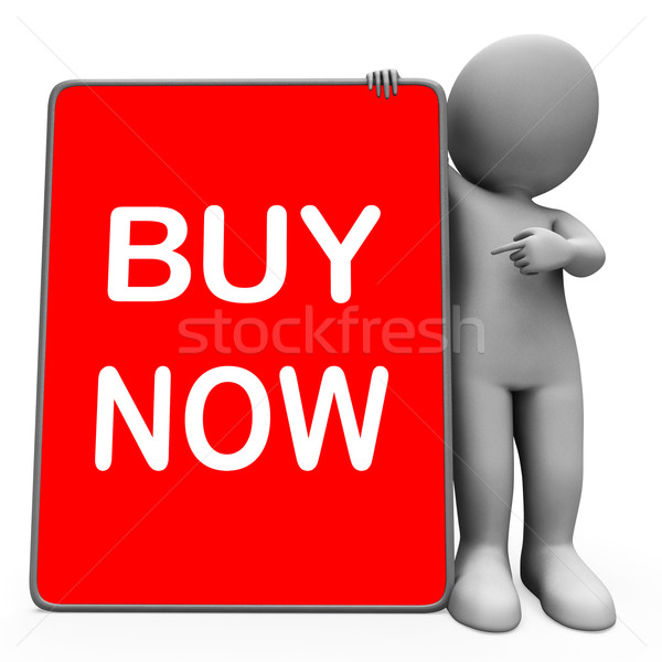 Buy Now Character Tablet Showing Buy And Purchase Immediately Stock photo © stuartmiles