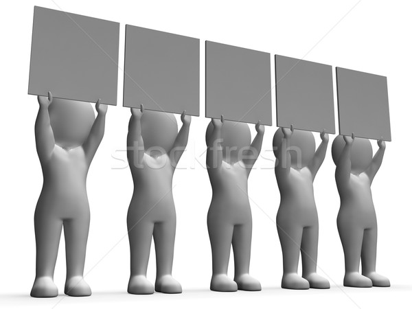 Characters With Five Blank Boards Allow Message Or Text Stock photo © stuartmiles