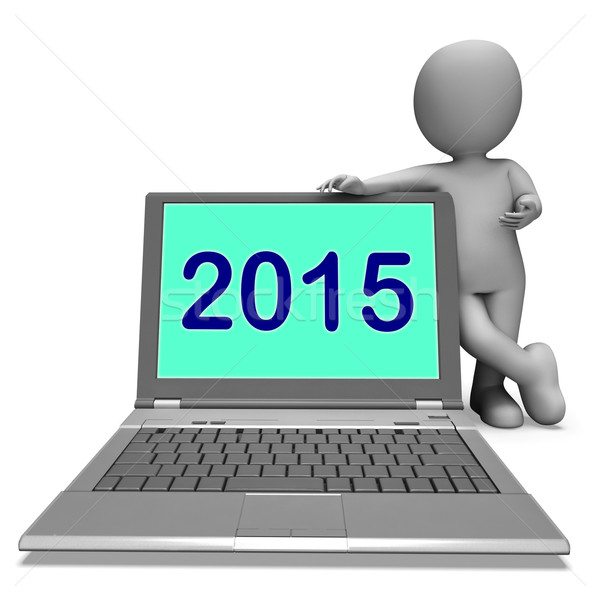 Two Thousand And Fifteen Character And Laptop Shows Year 2015 Stock photo © stuartmiles