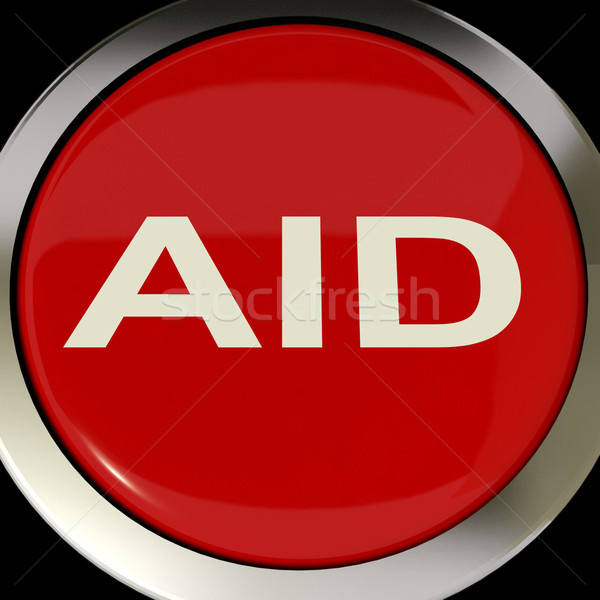 Aid Button Means Help Assist Or Rescue Stock photo © stuartmiles