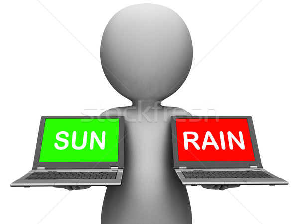 Sun Rain Laptops Shows Weather Forecast Sunny or Raining Stock photo © stuartmiles