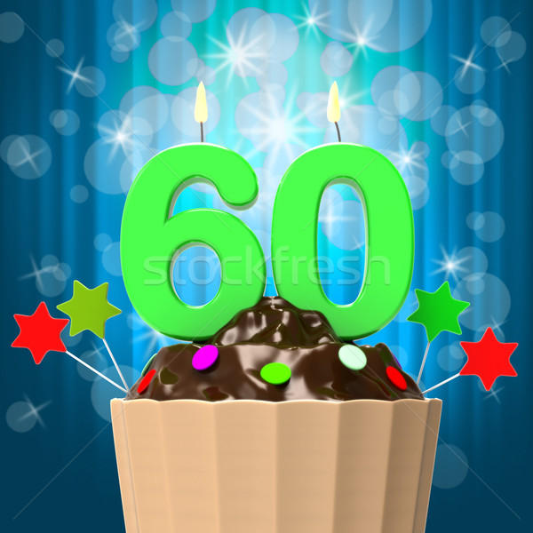 Sixty Candle On Cupcake Means Sixtieth Birthday Anniversary Stock photo © stuartmiles