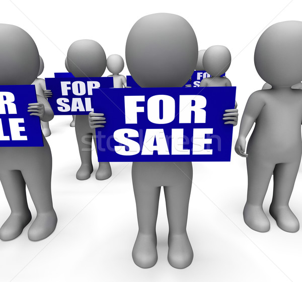 Characters Holding For Sale Signs Mean On Sale Goods Stock photo © stuartmiles