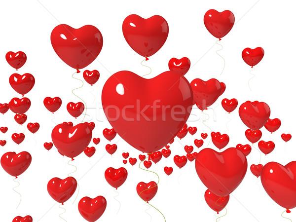 Szív léggömbök lebeg előadás szeretet levegő Stock fotó © stuartmiles