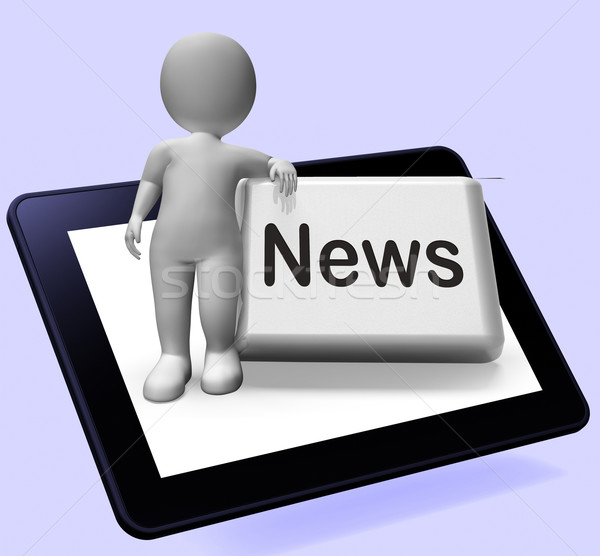 News Button With Character Shows Newsletter Broadcast Online Stock photo © stuartmiles