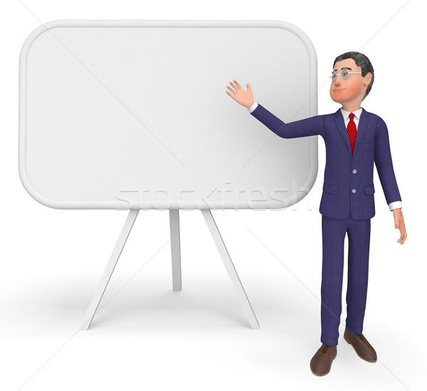 üzletember bemutat üres hely tábla üzletember igazgató Stock fotó © stuartmiles