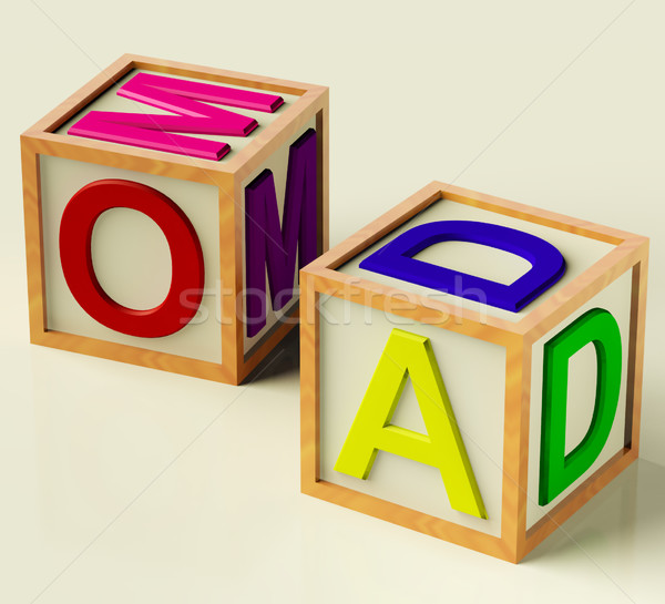 Kids Blocks Spelling Mom And Dad As Symbol for Parenthood Stock photo © stuartmiles