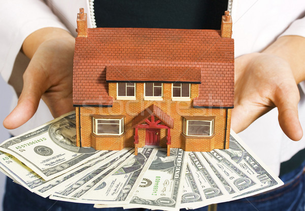 A person holding a miniature house and some dollar bills Stock photo © stuartmiles